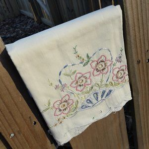 2 Embroidered Pillow Cases Antique Vintage Set